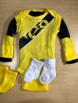 The birth of an infant-sized, no-sew, Power Rangercostume